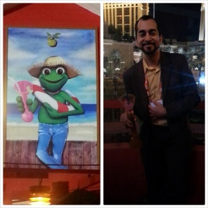 Me and Señor Frog - as a kid, I was often told I looked like Kermit.  Couldn't resist the urge to mimic the pose.
