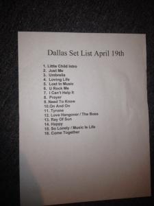 Nicole's Set List