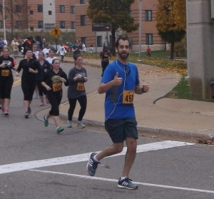 Me, 2 miles into the race.  Photo by my mom.